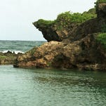 The rocks at Inarajan Pools.