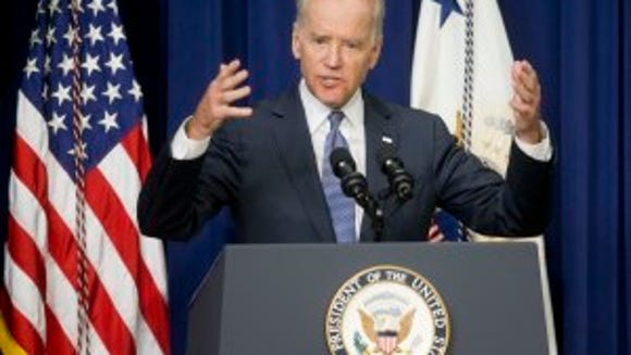 Vice President Joe Biden speaks about the release of the First Report of the White House Task Force to Protect Students from Sexual Assault, Tuesday, April 29, 2014. The White House is urging schools to provide victims of sexual assault with a confidential, respectful way to report the crimes and seek treatment. (AP Photo)