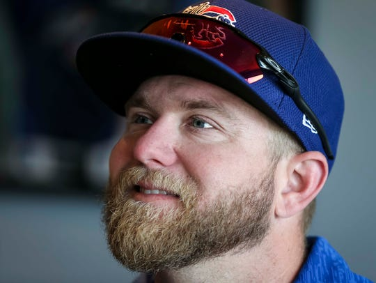 Iowa Cubs' catcher Taylor Davis speaks during media