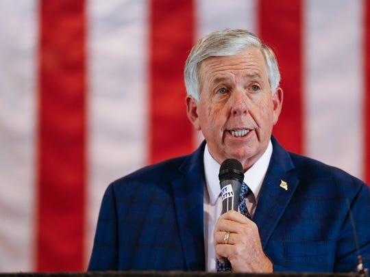 Missouri Gov. Mike Parson speaks at Hartman & Company before signing House Bill 2540, which lowers personal taxes and cuts several deductions, on Thursday, July 12, 2018.