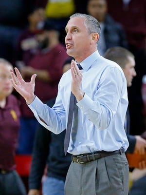 Arizona State Sun Devils coach Bobby Hurley disputes a call against the Cal State Bakersfield Roadrunners during the first half of their NCAA basketball game Monday, Dec. 28, 2015, in Tempe.