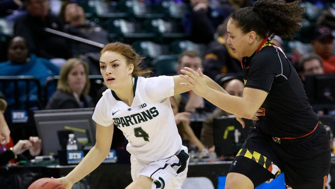 Michigan State guard Taryn McCutcheon (4) advances the basketball pursued by Maryland guard Destiny Slocum during the second half of an NCAA college basketball game in the semifinals of the Big 10 conference tournament, Friday, March 4, 2017, in Indianapolis. Maryland won 100-89. (AP Photo/R Brent Smith)