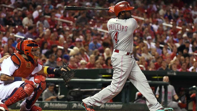 Reds second baseman Brandon Phillips left Tuesday's 12-5 loss to the Cardinals with a hand injury.