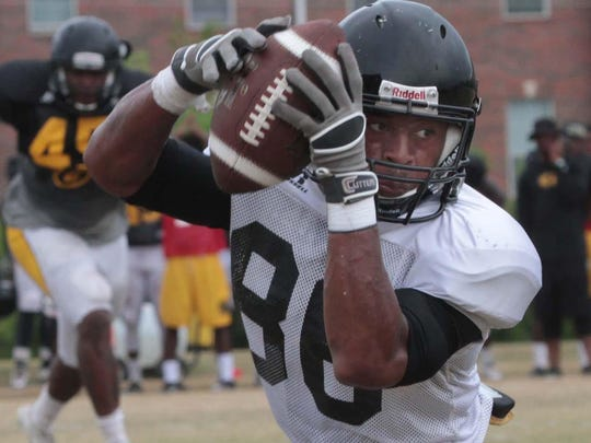 Shawn McCiaine caught three passes for 46 yards during Saturday's scrimmage at Grambling.