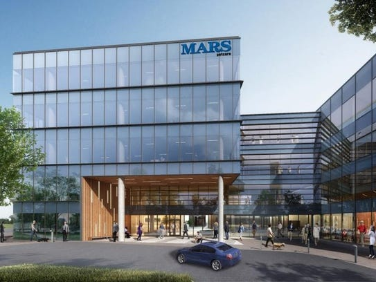 A rendering showing the two-building Mars Petcare headquarters