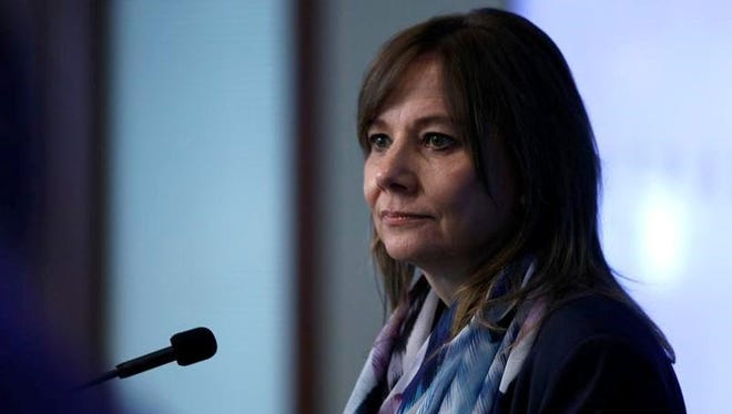 General Motors CEO Mary Barra speaks to the news media before the automobile maker's annual meeting of shareholders at GM world headquarters June 12, 2018 in Detroit, Michigan.