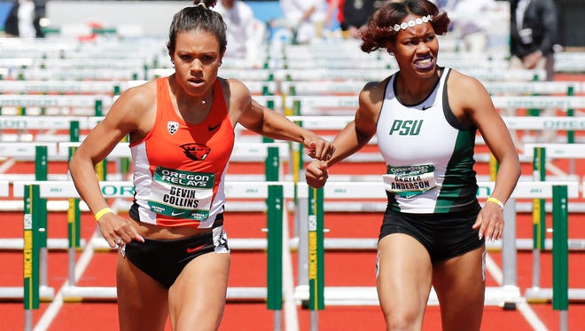 Oregon State's Devin Collins  (left) has set school records in the 100 and 400-meter hurdles