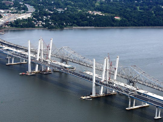 Work continues on the Gov. Mario M. Cuomo Bridge as seen from north of the project looking toward Westchester on Aug. 8.