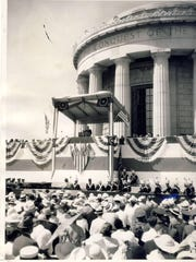 A crowd listens to Franklin D. Roosevelt at a ceremony in 1936 for the new George Rogers Clark Memorial in Vincennes, Ind.