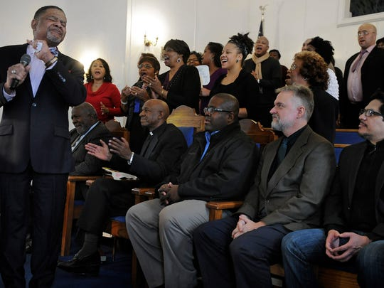 Rodney Beard sings a hymn during an event at Corinthian Missionary Baptist Church on Sunday, where representatives from Nashville's faith and ethnic communities held a candid conversation about their differences in hopes that it would strengthen and unify Nashville.