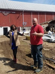 Jay Vomastic, owner of JJ&S Sunrise Dairy Farm, Shawano, talks to media during a visit from Wisconsin Department of Agriculture, Trade and Consumer Protection Secretary Sheila Harsdorf on April 24.
