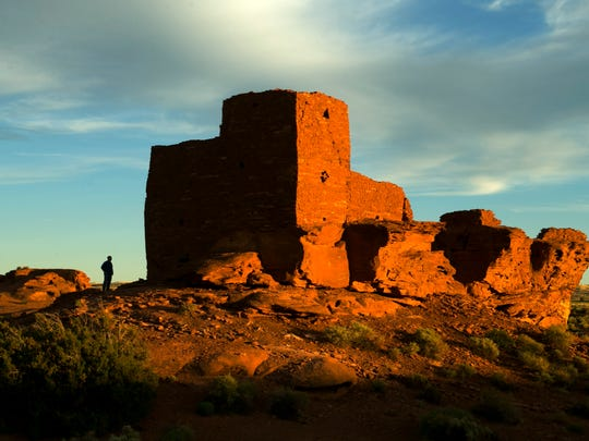 The Wukoki Pueblo at the Wupatki National Monument is seen at sunset on June 4, 2014. It is believed to be around 800 years old.