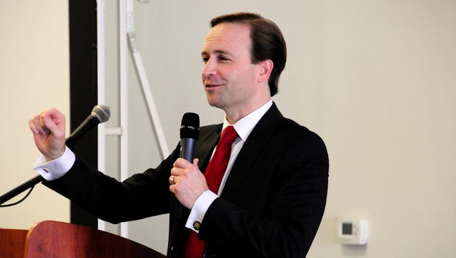 Lieutenant Governor Brian Calley speaks at the Semi-Annual Meeting of the St. Clair County Economic Development Alliance on Feb. 12, 2018, in Port Huron, Michigan.
