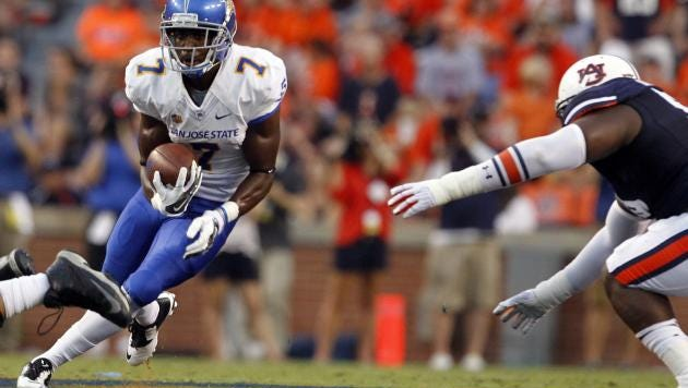 San Jose State tailback Tyler Ervin running the ball during a 59-13 victory for Auburn. Ervin had 300 yards on 42 carries last week against Fresno State.