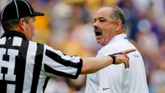 Texas A&M defensive coordinator John Chavis, shown here as the defensive coordinator at LSU in 2015, has been best friends with Auburn defensive coordinator Kevin Steele since the 10th grade.