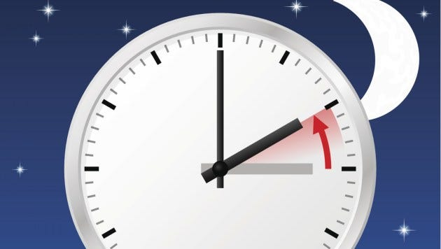 A federal law specifies that daylight-saving time applies from 2 a.m. on the second Sunday of March until 2 a.m. on the first Sunday of November.
