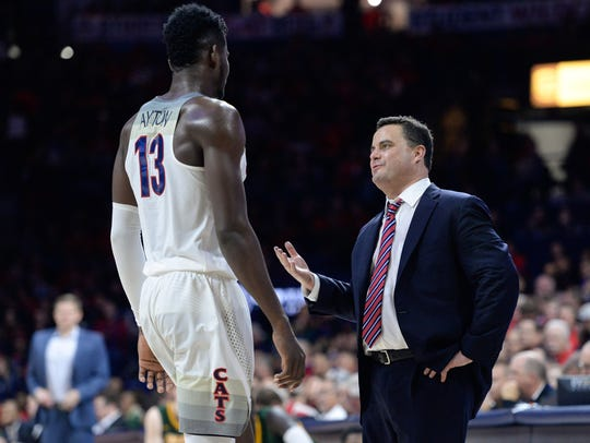 Arizona Wildcats head coach Sean Miller and forward