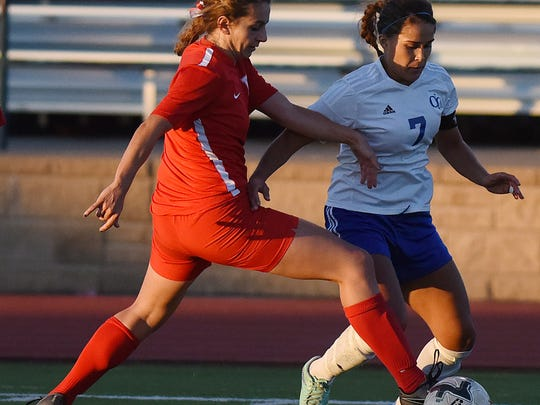 O'Gorman's Theresa Pujado and Rapid City Central's