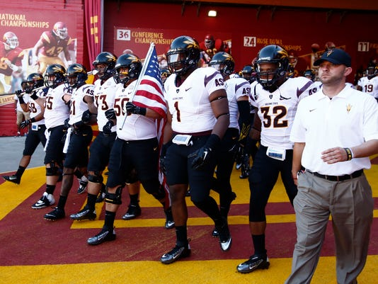 ASU takes field for USC game