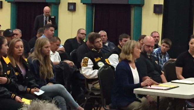 A large group of Cascade students and staff members testify to the OSAA's Classification and Districting Committee Monday.