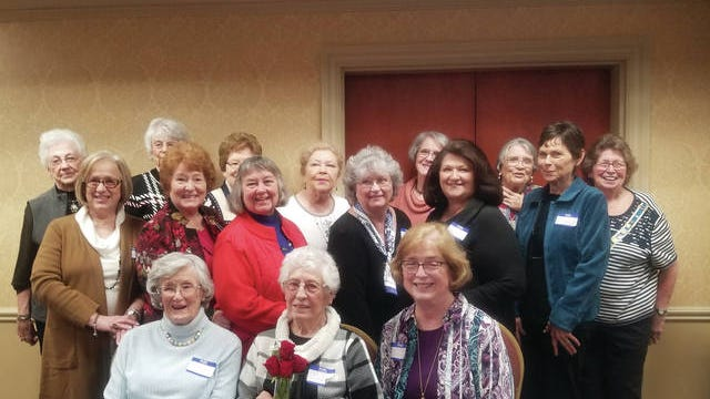 The annual joint meeting of the Tennessee Society Daughters of the American Revolution Jane Knox Polk and Tenassee Chapters was held at Heritage Bank in Columbia. Tenassee members are with their chaplain, Helen Petty, who celebrated her 90th birthday. Seated, from left: Mary Sue Fisher, Chaplain Petty and Patricia McClanahan. Standing, first row: Cynthia Jarnigan, Johnnia Elkins, Donna Barr, Catherine Unger, Catherine Thomas and Susan Williford. Second row: Sara Carpenter, Jeanell Kutterer, Betty Barber, Connie Green, Lavinia Gossett, Martha Boone and Katherine Kozlinski.