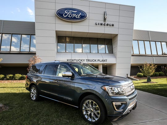 A new Ford Expedition sits outside the front door of Ford's Kentucky Truck Plant in Louisville.  Ford introduced the redesigned vehicle along with the new Lincoln Navigator today.October 27, 2017