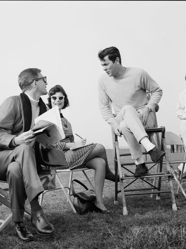 Actor Tony Curtis, right, spoke with director Blake