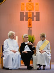 The Rev. Bernie Sykora, a womanpriest, from left, Rose