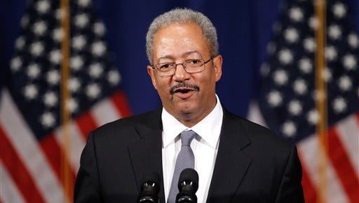 In this June 30, 2011, file photo, U.S. Rep. Chaka Fattah, D-Pa., speaks during a Democratic National Committee event in Philadelphia. Pennsylvania state Rep. Dwight Evans, D-Philadelphia, and two other Democratic candidates are challenging Fattah's bid for re-election in Pennsylvania's Tuesday, April 26, 2016, primary, which is Fattah's first primary fight in two decades and takes place three weeks before his scheduled trial on federal racketeering, bribery, fraud and money laundering charges, slated to begin Monday, May 16, 2016.