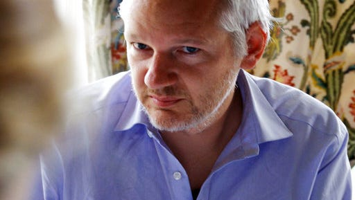 """This image released by Showtime shows Julian Assange in a scene from the documentary """"Risk."""""""