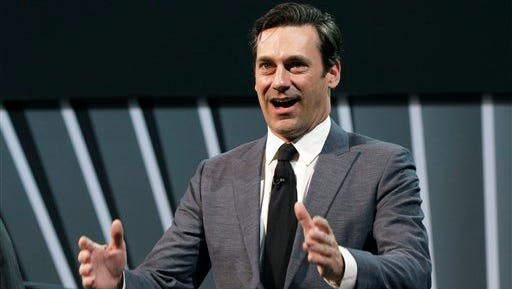 """Actor Jon Hamm, of television's """"Mad Men,"""" is shown at the 2014 New York International Auto Show, at the Javits Convention Center in New York.   President Barack Obama and Vice President Joe Biden are unveiling the """"It's On Us"""" campaign Friday at a White House event. The White House has enlisted Hollywood stars including Jon Hamm of """"Mad Men"""" to help fight campus sexual assault."""