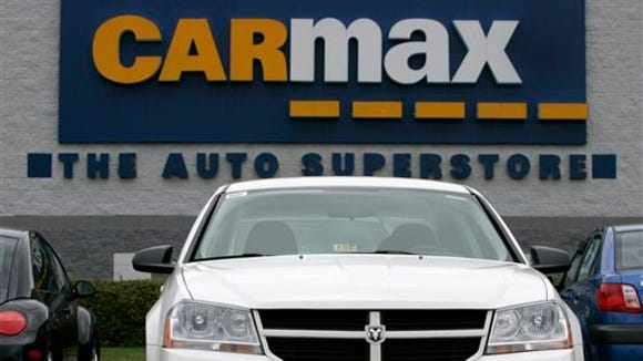 In this April 1, 2009, file photo, a Dodge car sits on display at the CarMax store in Richmond, Va.