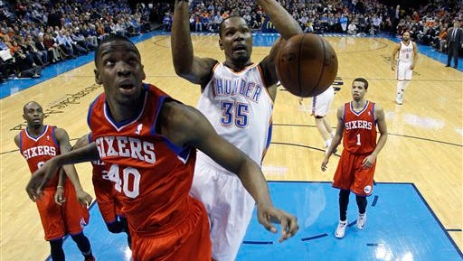 The Sixers signed Jarvis Varnado (40) for the rest of the season. (AP Photo/Sue Ogrocki)