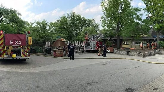 Crews respond to fire at Cincinnati Zoo and Botanical Garden on Monday, May 14, 2018.