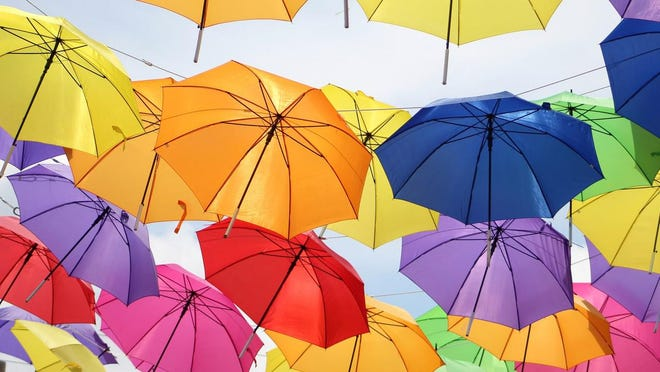 Umbrella Alley in Louisville offers the visitor colorful views and fun spots to take photos. This image by Hannah Lemaster is part of an upcoming display at the Massillon Museum.