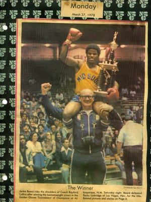 Rayford Collins celebrates with Jackie Beard after Beard won the Golden Gloves National Championship in 1978.