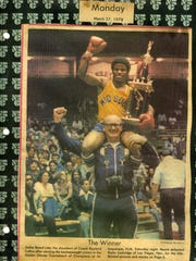 Collins celebrates with Jackie Beard after Beard won the Golden Gloves National Championship in 1978.