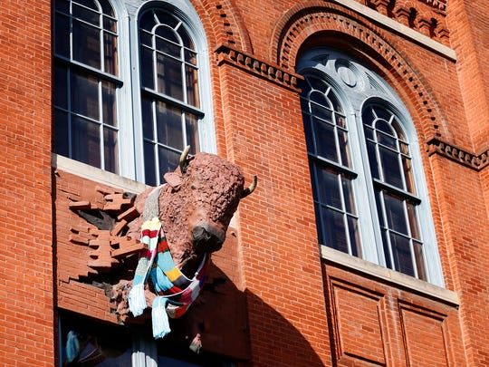 Artemus breaks through the east wall of the Rockwell Museum in Corning.