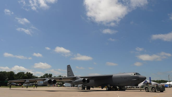 The B-52 landed in Oshkosh on Friday July 17, 2015 in time for AirVenture 2015. The B-52 will be on display at Boeing Plaza.