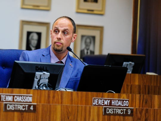 Jeremy Hidalgo, the District 9 representative on the Lafayette Parish School Board, speaks during an April 2016 board meeting.