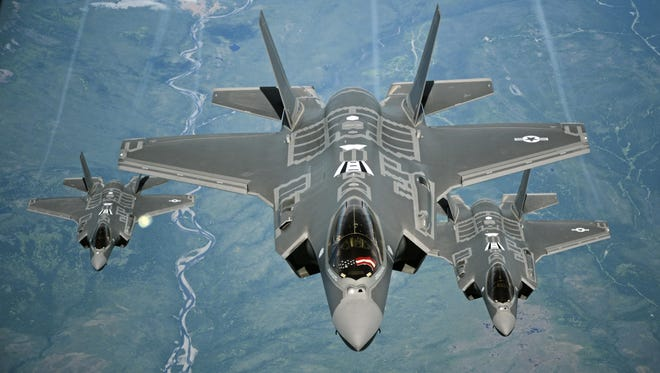 F-35A Lightning II aircraft fly over California in July 2015.