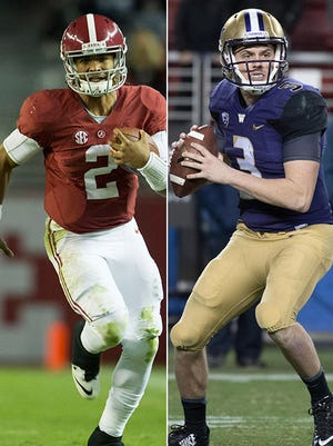 Alabama QB Jalen Hurts faces off against Washington QB Jake Browning.
