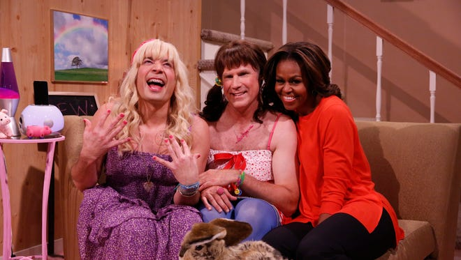 From left: Jimmy Fallon, Will Ferrell and first lady Michelle Obama during a skit on 'The Tonight Show.'