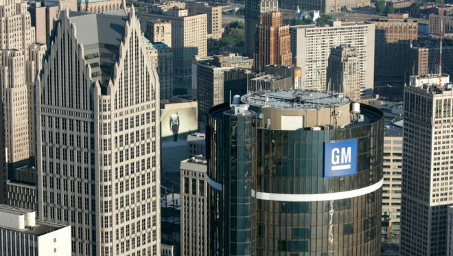 The GM world headquarters at the Renaissance Center in Detroit