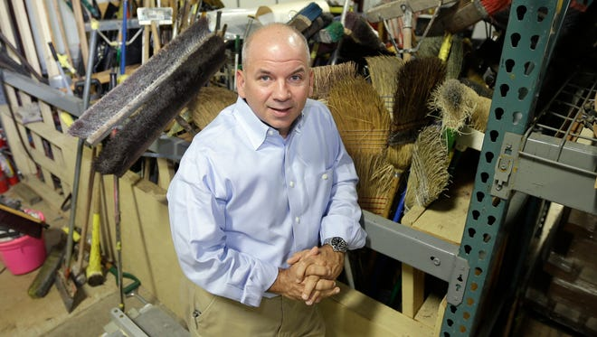 CEO Joe Carter poses in the warehouse at Snyder Environmental in Maumelle, Ark.