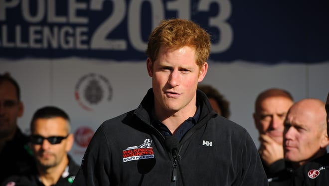 Prince Harry speaks at send-off event for his charity trek to South Pole, in Trafalgar Square in London.