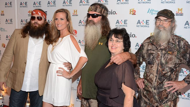 Willie Robertson, left, Korie Robertson, Phil Robertson, Miss Kay Robertson and Si Robertson of Duck Dynasty attend the A+E Networks 2012 Upfront.