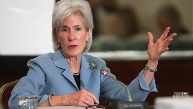 Health and Human Services Secretary Kathleen Sebelius promotes Medicaid expansion during the U.S. Conference of Mayors on Jan. 22, 2014, in Washington, DC.