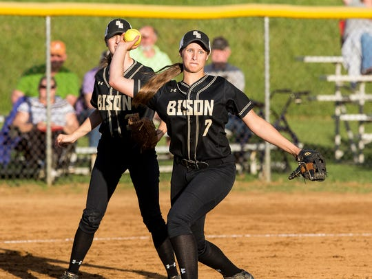 Buffalo Gap's Katy Simmons throws to first to record