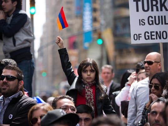100th Anniversary Of Armenian Genocide Commemorated In New York's Times Square